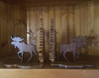 Handmade Wooden Moose Bookends made from Hardwood in a Gift Box