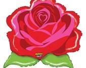 "Belle Party Decorations - Rose Foil Balloon - 29"" Rose Balloon - Beauty and the Beast Decorations - Rose Balloon"