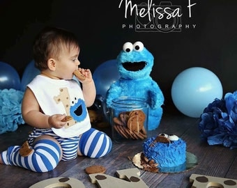 First Birthday Cookie Bib-Smash Cake Bib-Cookie Monster bib-Cookie Birthday Bib- Toddler Bib- Monogram Birthday Bib
