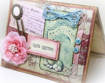Easter Card - Shabby Chic Easter Card - French Country Card - Rustic Card