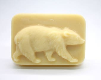 Bear Lotion Bar - solid lotion, all natural, vegetarian, father's day, stocking stuffer, party favor, north american animals, lotion for men
