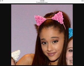 Ariana Grande Ear Headband - flower cat ears headband - cat kitty ears - bridal - flower girls - bridesmaids