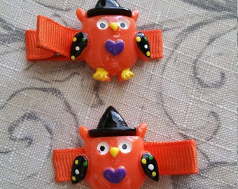 Halloween Owl Hair Clip Set Ready To Ship