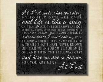 At Last Lyrics - Gallery Wrapped Canvas -18x18 -Etta James- love marriage engagement wedding word art print