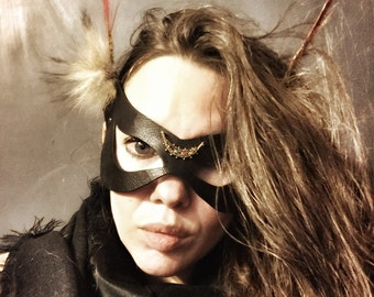 Upcycled Black Leather Moth Mask / Poison Pixie Insect Mask