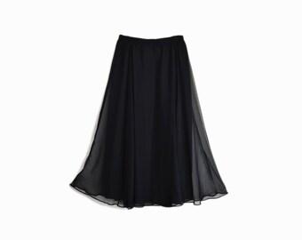 Vintage 80s Sheer Black Chiffon Midi Skirt / Chiffon Dance Skirt - women's small