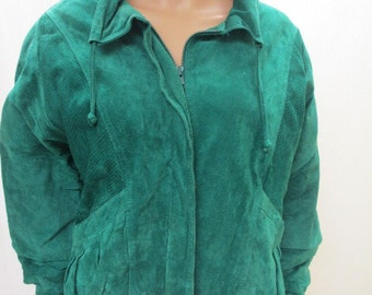 LEATHER COAT Green Jacket Misses Ladies MEDIUM Vintage J Gallery