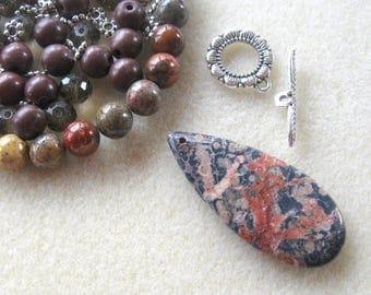 Red Leopardskin Jasper Pendant and Beads, Howlite, Glass, DIY Jewelry Kit, Jewelry Making, Necklace Kit, Gemstone Beads
