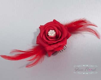 Bridal Hair Piece, red rose flower hair comb, feathers, roses, rhinestones and crystals, hair fascinator, Tea Rose Collection