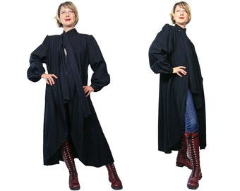 1980s Hanae Mori Paris Black Wool Coat Medium