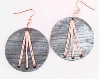 Silver Grey Polymer Clay Pink Embroidered Circle Earrings