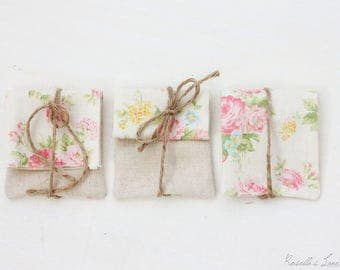 USB packaging -  Set of 5 pink and yellow floral USB pouches hemp ties