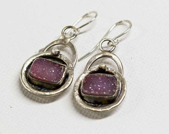 Pink Drusy Druzy Rustic Earrings in Handcrafted Sterling Silver