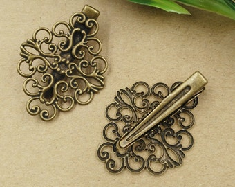 20 Hair Clip- Brass Antique Bronzed Tone 30x38mm Filigree Floral Component Base Setting- Z7935