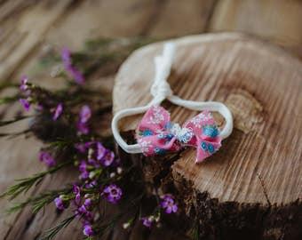 Vintage pink fabric bow tie back Headband