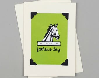 """Handmade Father's Day Card """"Happy Father's Day"""" in Vintage Style with Horse Illustration"""