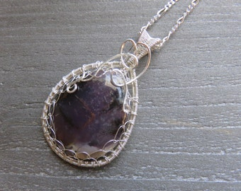 Amethyst Sage Pendant - Wire Wrapped Cabochon - Sterling Silver Amethyst Pendant - Valentines Day Gift Idea - Handmade Pendant