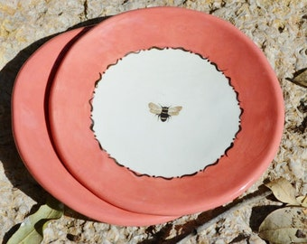 Salmon Pink Bee Dessert Appitizer Plates with Real 22k Gold Accents
