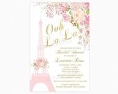 Paris Bridal Shower Invitation, Eiffel Tower Bridal Shower Invitation, Watercolor Flowers, Personalized, Printable or Printed