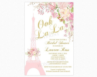Paris Bridal Shower Invitation, Eiffel Tower Bridal Shower Invitation, Watercolor Flowers, Personalized, Printable or Printed