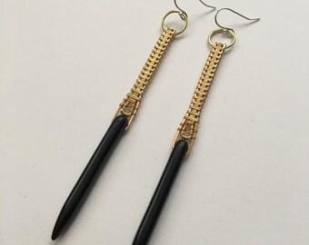 Brass & Magnesite Dagger Earrings