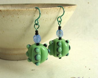 Funky jade green and blue bumpy bead earrings on hypo-allergenic niobium findings