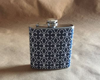 Navy Blue and White Mosaic Print 6 ounce Stainless Steel Bridesmaids Gift Flask