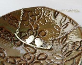 Silver Bird Necklace Silver, Best Friend Necklace Bird Jewelry, Love Bird Necklace Handmade, Necklaces for Women, BFF Jewelry Gift