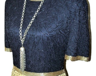 Vintage 1980s Black & Gold Sequin Beaded Silk Dress Sz L