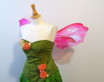 Pink Lotus Petal Large Iridescent Pixie Wasp Insect Fairy wings