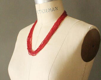 Vintage 70's Red Glass Seed Bead Multi Strand Beaded Necklace