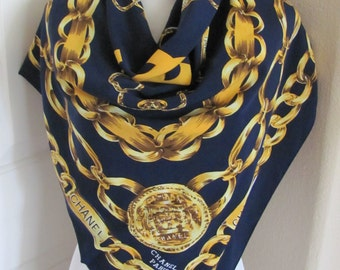 """Large Dark Blue Gold Chain Soft Poly Scarf - 33"""" Inch 86cm Square"""