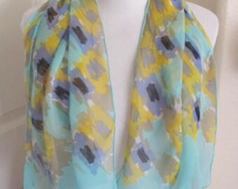 "Green Floral Vintage Sheer Chiffon Silk Scarf // 16"" x 42"" Long"