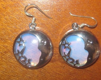 New Design Blue Opalite Glass Moon And Star Earrings