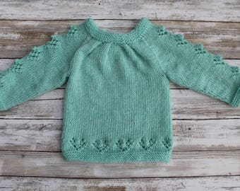 Hand Knit Baby Girl Sweater. Pleated Baby Girl Sweater. Baby Sweater with Popcorns. Soft Baby Sweater. 6 months.