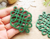 WP58 /  # 7 Emerald Green / Filigree Wood Knot Jewelry finding /Laser Cut Knot Charm/ Pendant /Colorful light weight earrings/large earrings