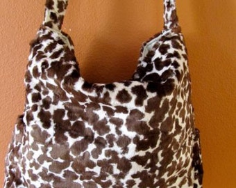 Sam #27:  Up Cycled Coat Bag, Faux Fur Leopard Purse, Tote, Project Bag, Messenger Bag, Bags, Knitting Tote, Project  Bags, Project Totes