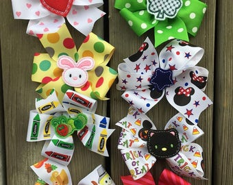 HOLIDAY Bow Set #4 - Large Bows - Boutique Hairbow - Large Hairbow - Little girl bow- Valentines St patrick easter july 4th christmas school