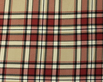 Burgundy Taupe and Black Plaid Brushed Poly Spandex Knit, 1 yard