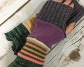 Upcycled Sweater Mittens- Fingerless Gloves - Stocking Stuffer-Winter Gloves-Recycled Mittens-Hippie Fingerless Gloves- Bohemian Gloves-Warm