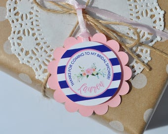Bridal Shower Favor Tags, Wedding Thank You Tags, Bridal Shower Favors, Bachelorette Favor Tags, Pink & Navy Blue - Set of 12