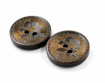 Concave Bauhinia Pattern Dark Brown Wooden Buttons, 0.91 inch (10 in a set)