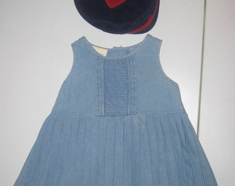 Hat and Dress Child Laura Ashley Denim Pleated Smocking 18 Mos. & Polar Fleece Navy Heart 20.5