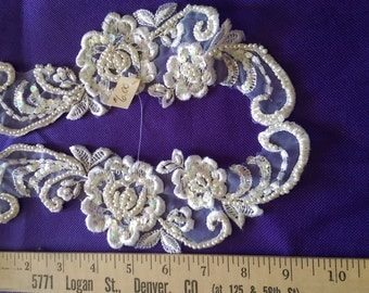 Iridescent beaded and sequined applique pair