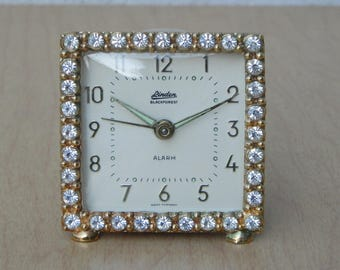 "Vintage Small Endura Square Jeweled ""Black Forest"" Alarm Clock"