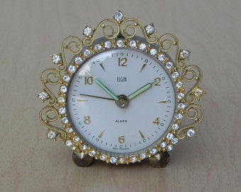 Small Elgin Jeweled Alarm Clock, Wind Up, West Germany
