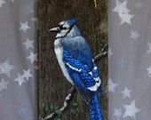 """Royal Blue Jay, hand painted barnwood, rustic, from the Ozarks, 5 1/2"""" x 12"""""""