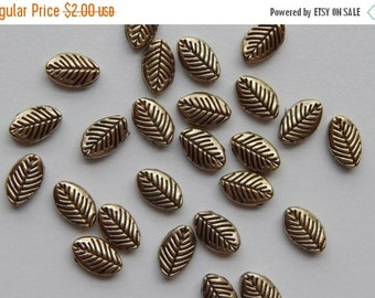 WINTER SALE 150 Pieces of Metal Jewelry Beads - 10mm Oval Shape, Leaf, Detailed Veins, Antique Gold Color, Zinc Alloy Base Metal, Medium, 2m