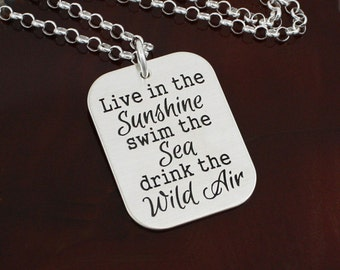Live in the Sunshine - Inspirational Sterling Silver Necklace or Key Ring