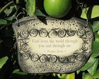 Handmade Mother Teresa Inspirational Ceramic Plaque